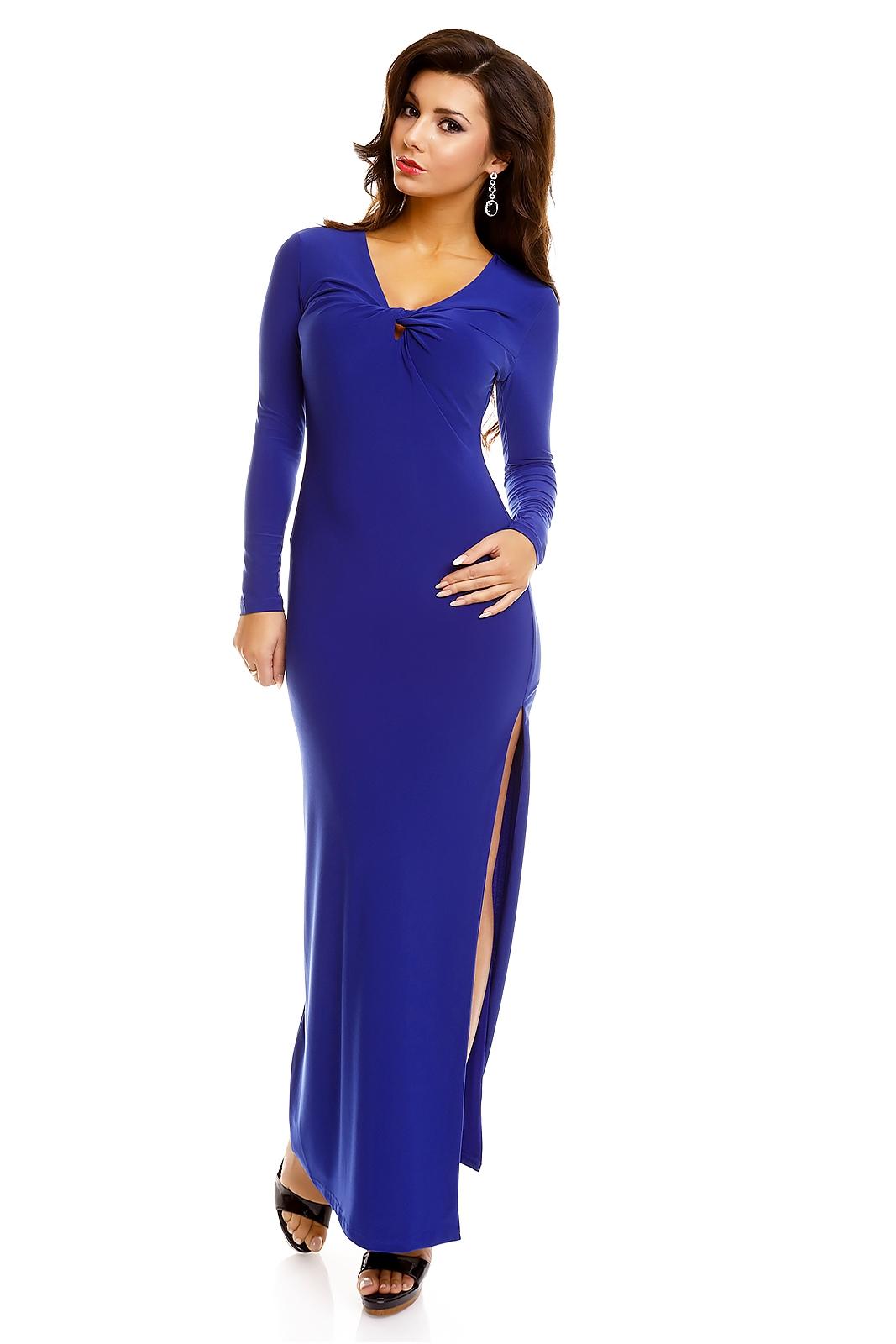 9c29a3213556 Dámské dlouhé šaty s rozparkem modrá