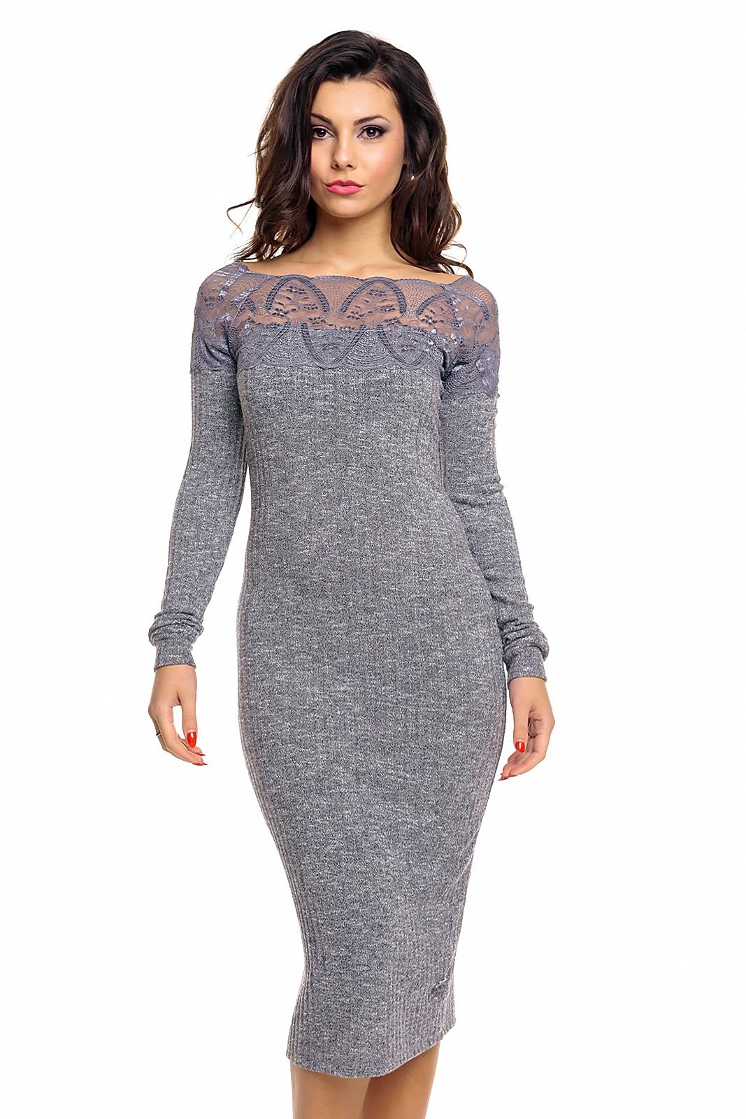 c150be2a093f Úpletové dámské midi šaty Emma Ashley 2489 šedá
