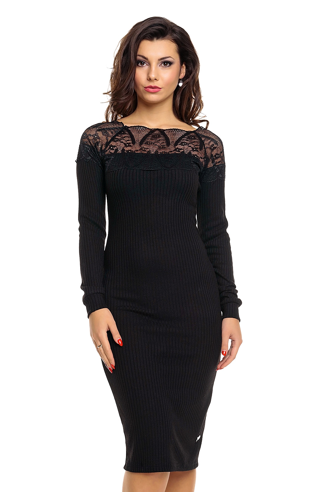 Úpletové dámské midi šaty Emma Ashley 2491 černá dc9aecbf06