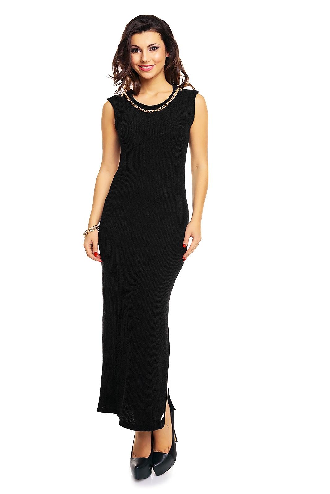 Úpletové dámské maxi šaty Emma Ashley 2500 černá (Dámské šaty)