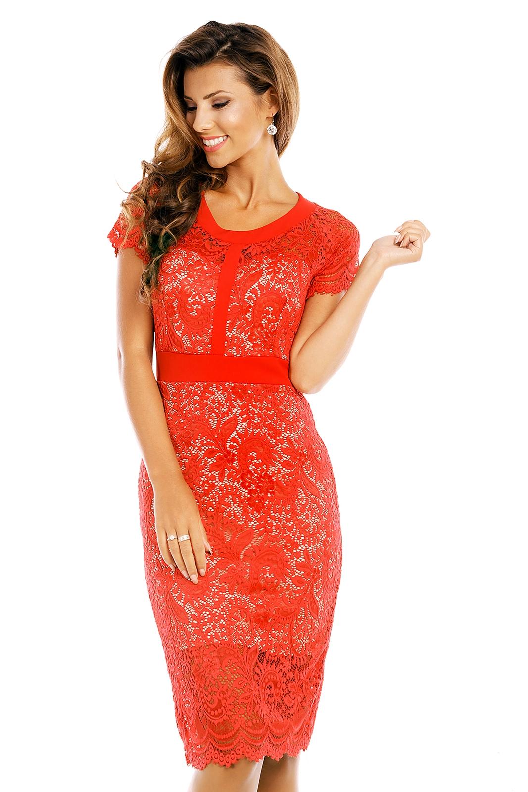 Společenské krajkové midi šaty červená (Dámské šaty)