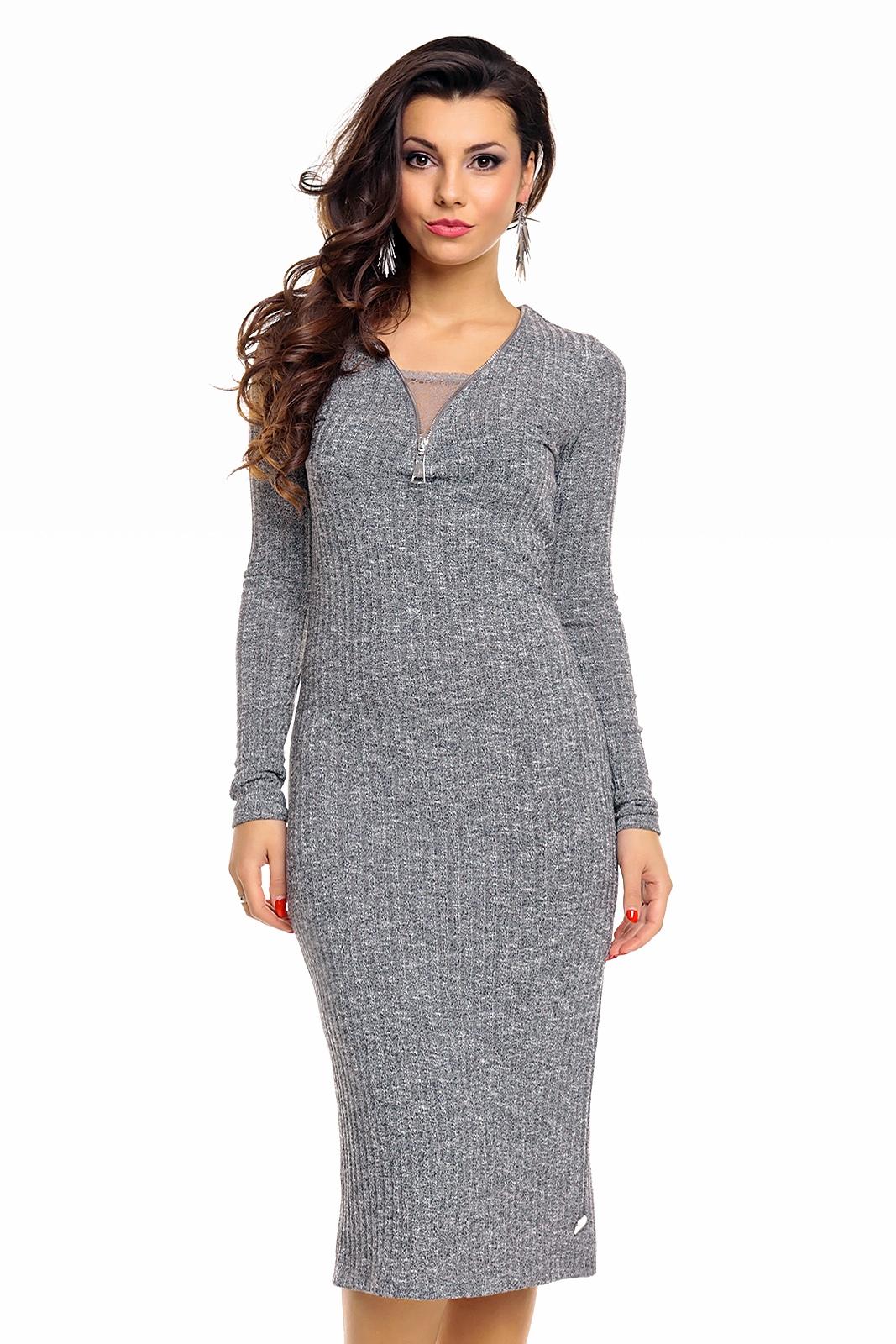 5eab612ed72c Úpletové dámské midi šaty Emma Ashley 2514 šedá