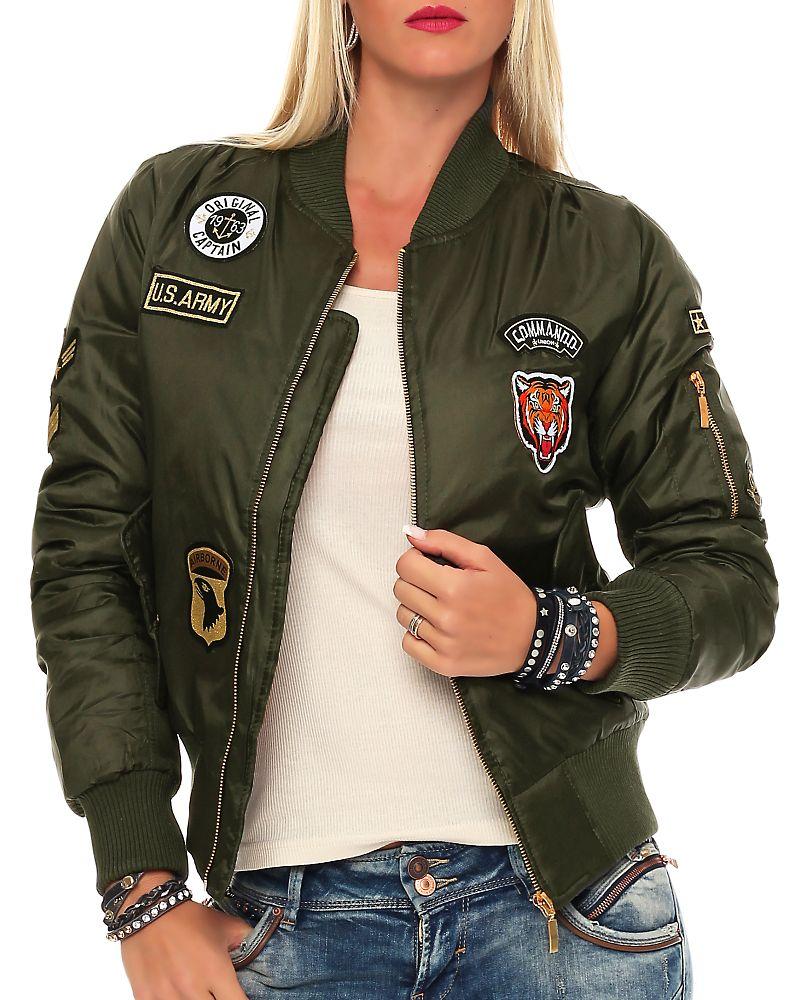 Dámská BOMBER bunda s nášivkami 2542 khaki (Dámská bunda)