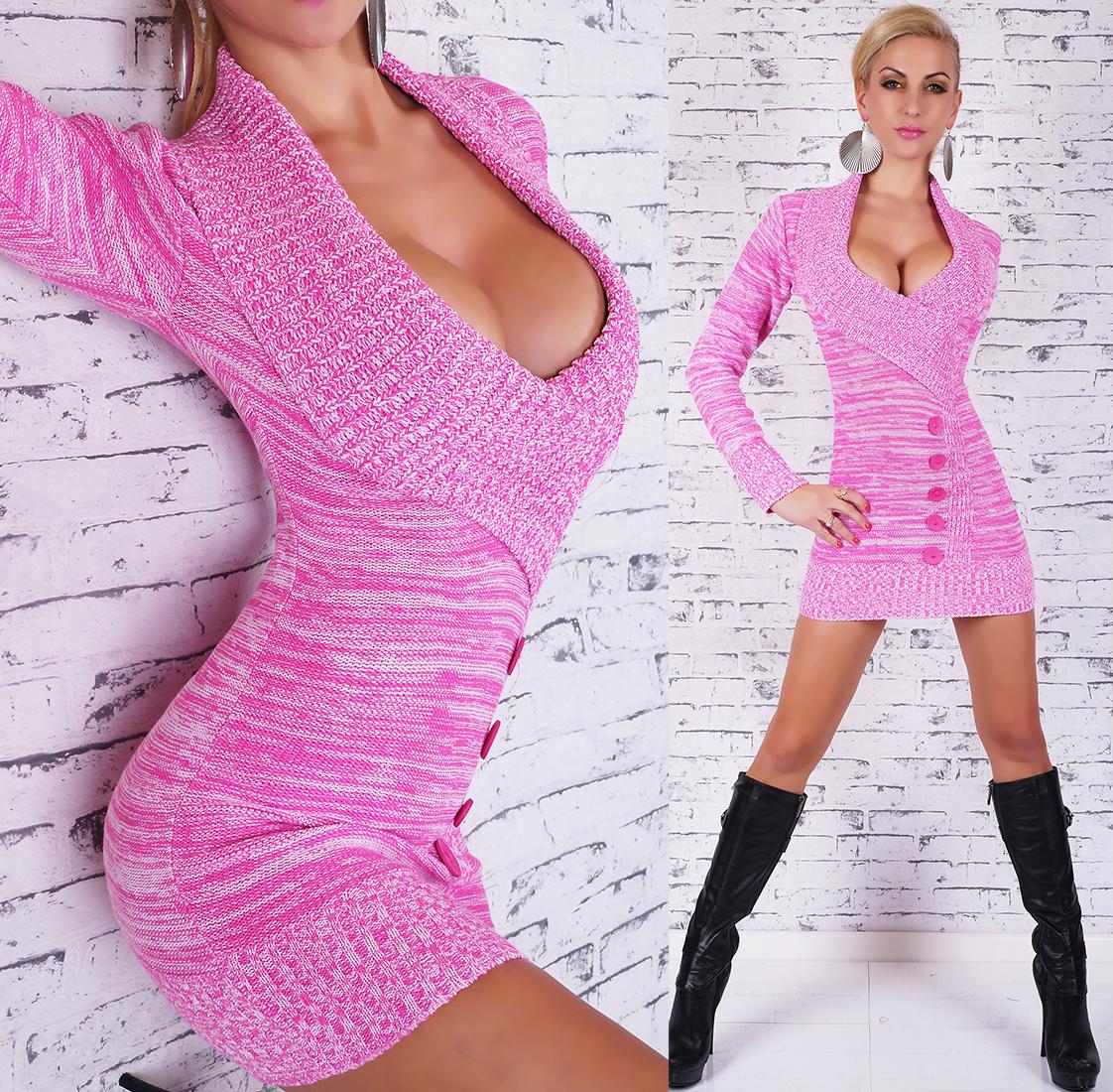 Dámský luxusní dlouhý svetr 2556 růžová c7ed8f1cee