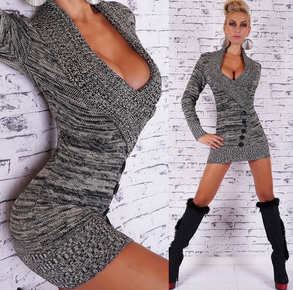 Dámský luxusní dlouhý svetr šedá (Dámský svetr)