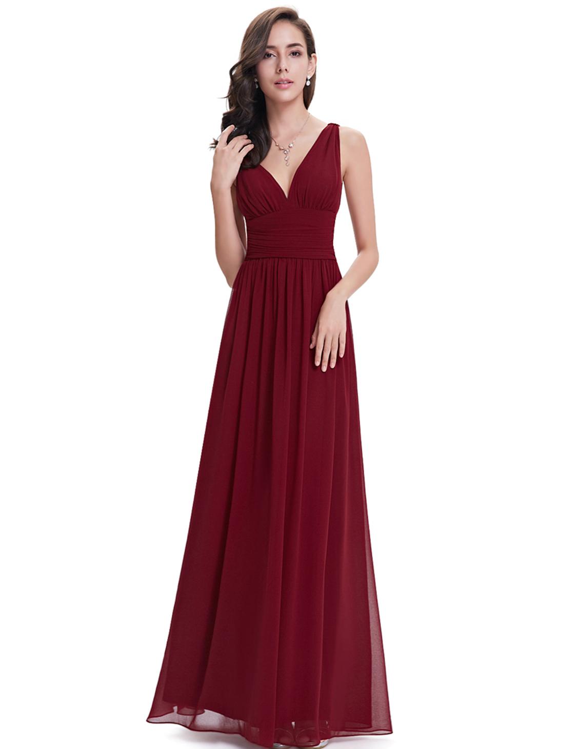 Ever Pretty plesové dlouhé šaty 9016 bordó (Dámské šaty)
