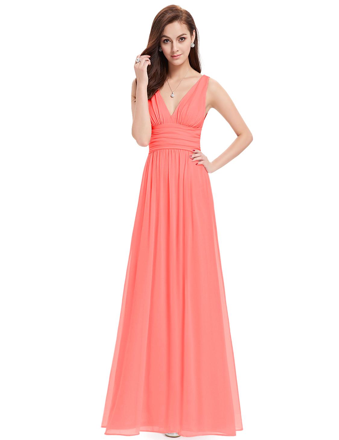 Ever Pretty plesové dlouhé šaty 9016 lososová (Dámské šaty)