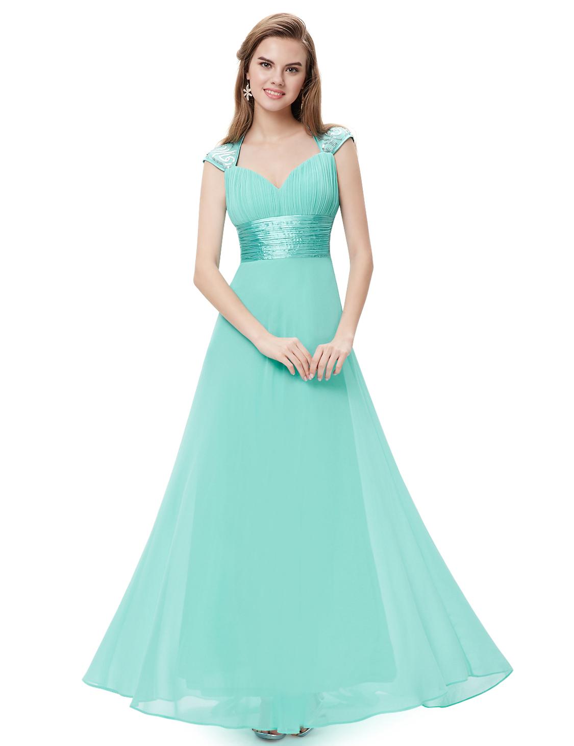 Ever Pretty plesové dlouhé šaty s flitry 9672 tyrkys (Dámské šaty)