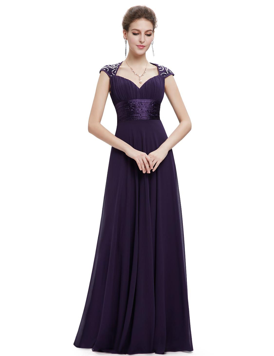 Ever Pretty plesové dlouhé šaty s flitry 9672 fialová (Dámské šaty)
