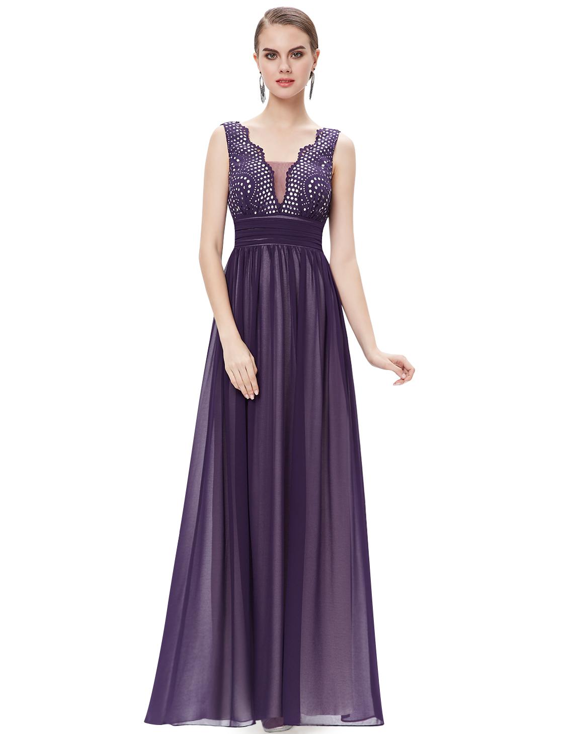 Ever Pretty plesové dlouhé šaty 8019 fialová (Dámské šaty)