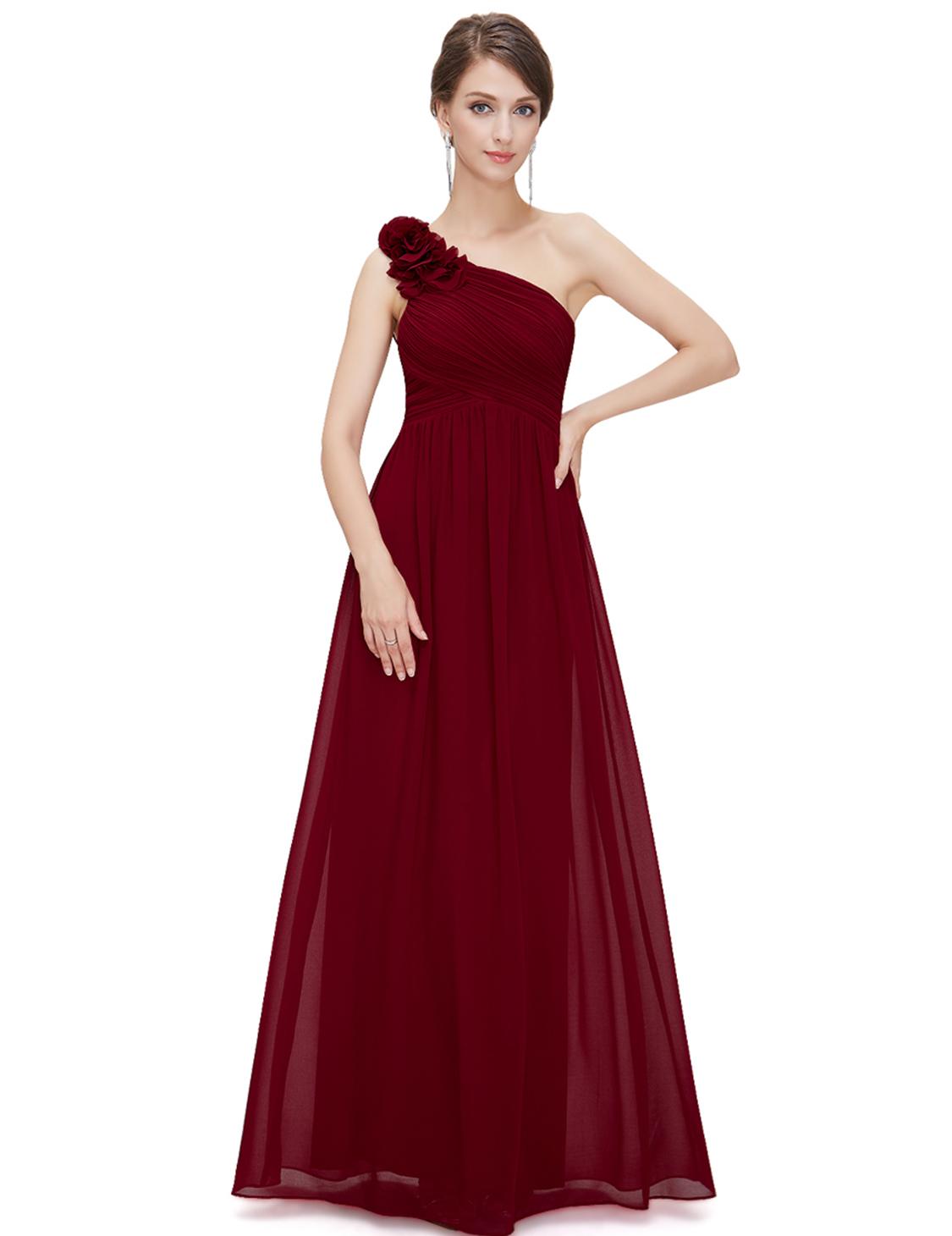 Ever Pretty plesové dlouhé šaty na jedno rameno 8237 bordó (Dámské šaty)