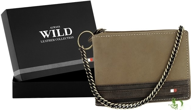 Pánská kožená peněženka Always s řetízkem hnědá (Pánská peněženka)