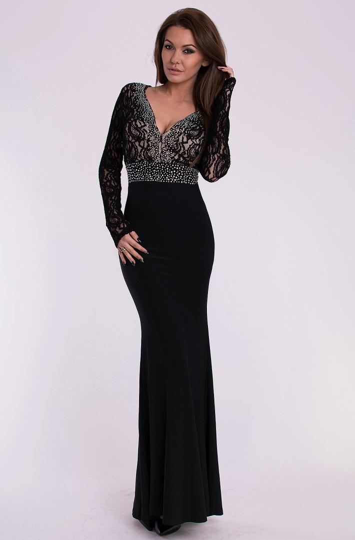 Eva   Lola dámské plesové a společenské dlouhé šaty černá e09f7aa0c3