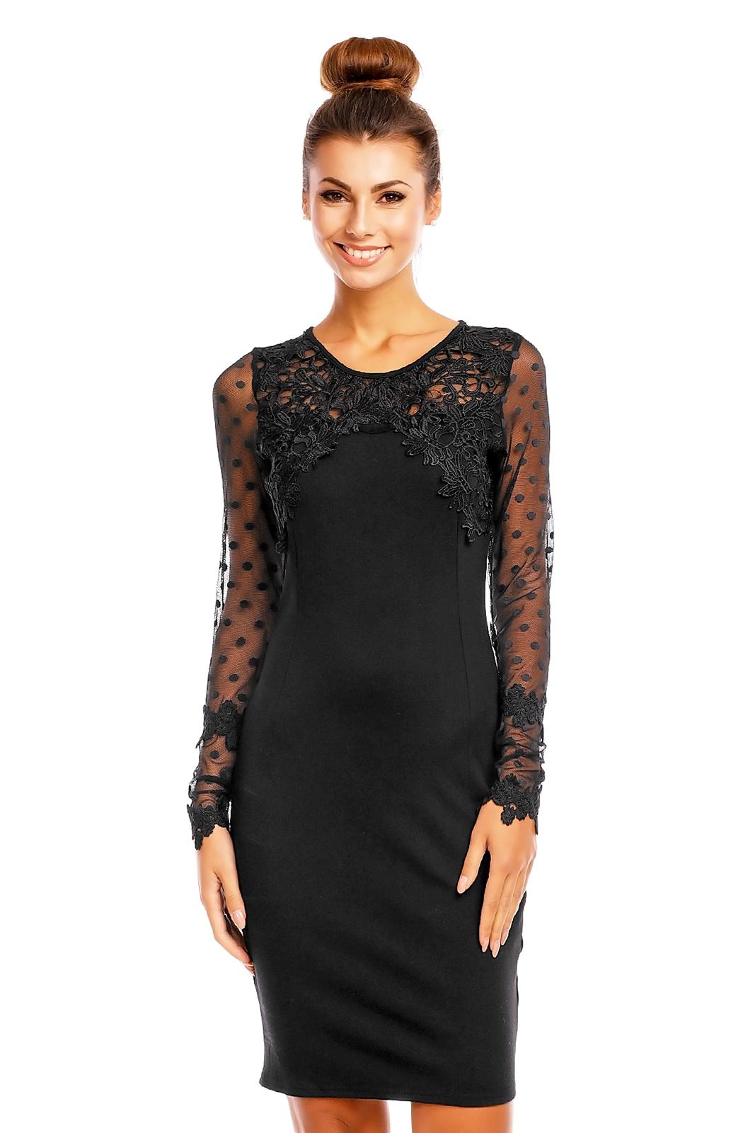 Dámské společenské šaty s krajkou černá 56950bc37ff