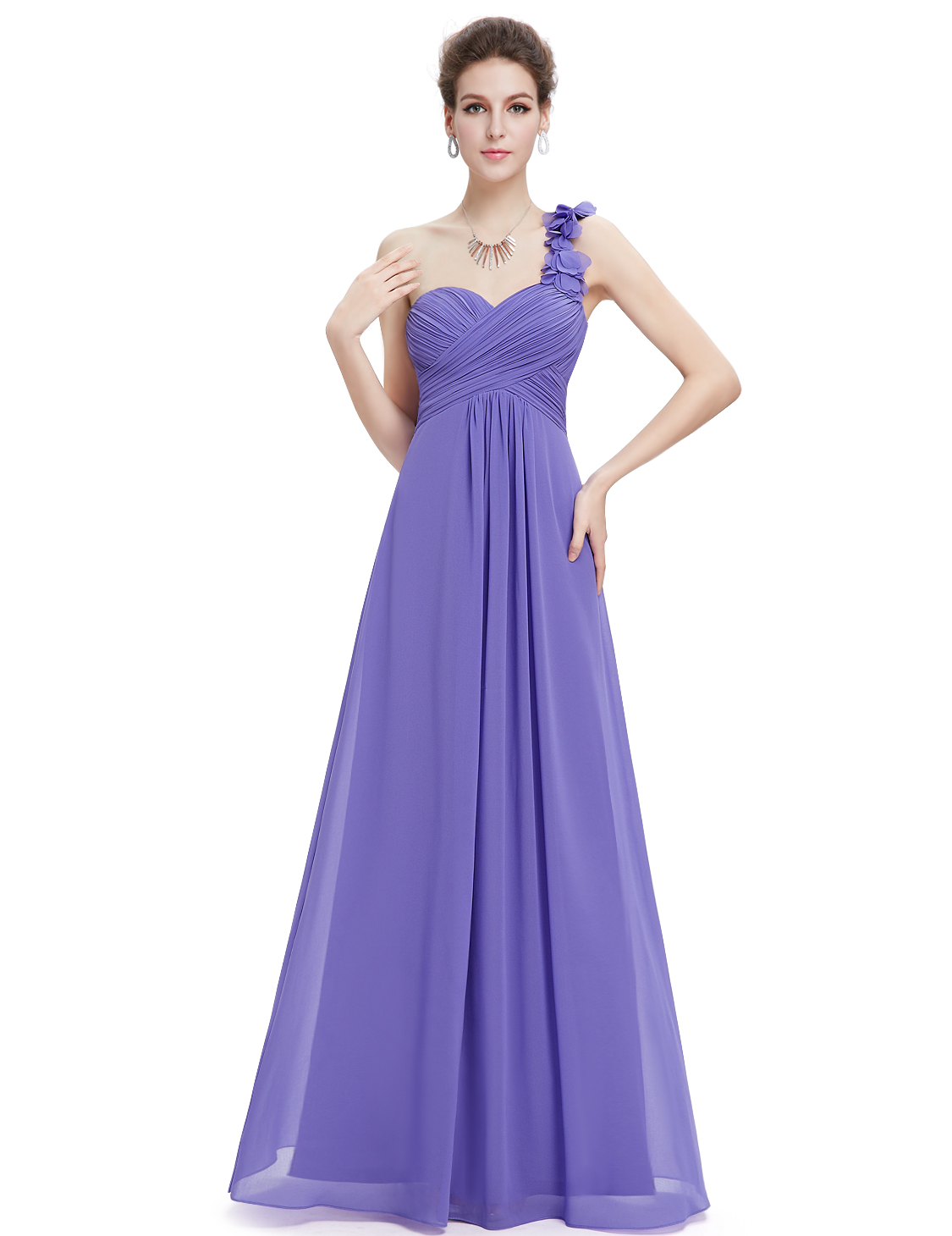 Ever Pretty plesové dlouhé šaty na jedno rameno fialová dd353770de