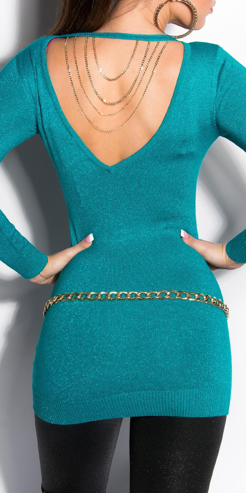 Dámský dlouhý svetr Koucla s řetízkem tyrkys (Dámský svetr)