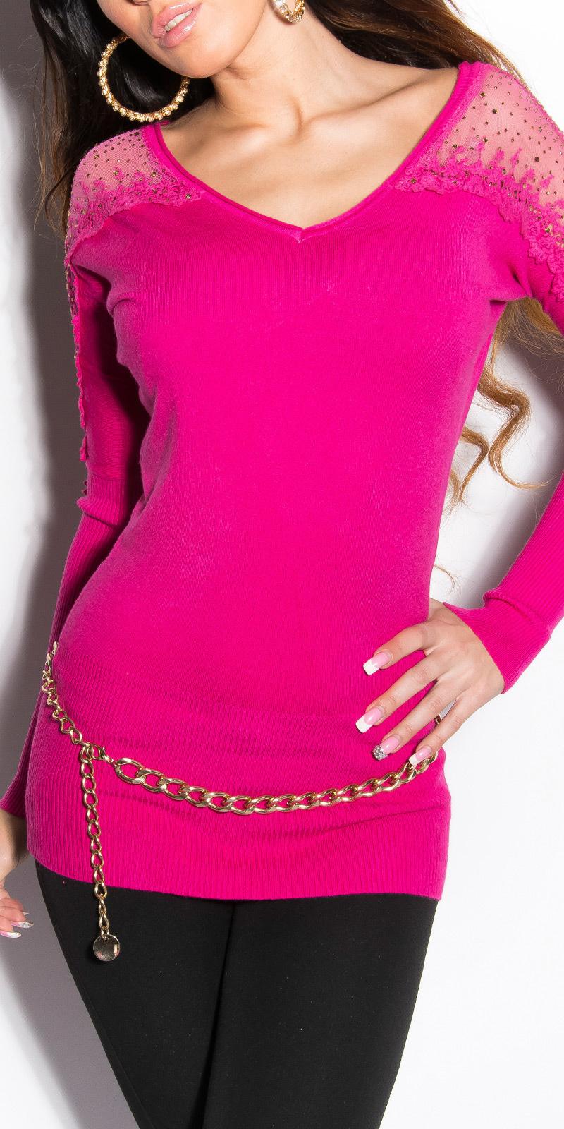 147e8c5d047 Dámský dlouhý svetr s krajkou a kamínky Koucla růžová