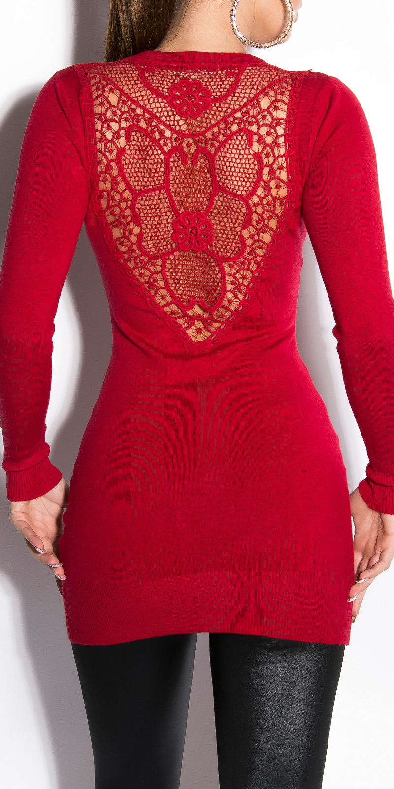2b1ca628d53 Dámský dlouhý svetr s kamínky a krajkou Koucla červená