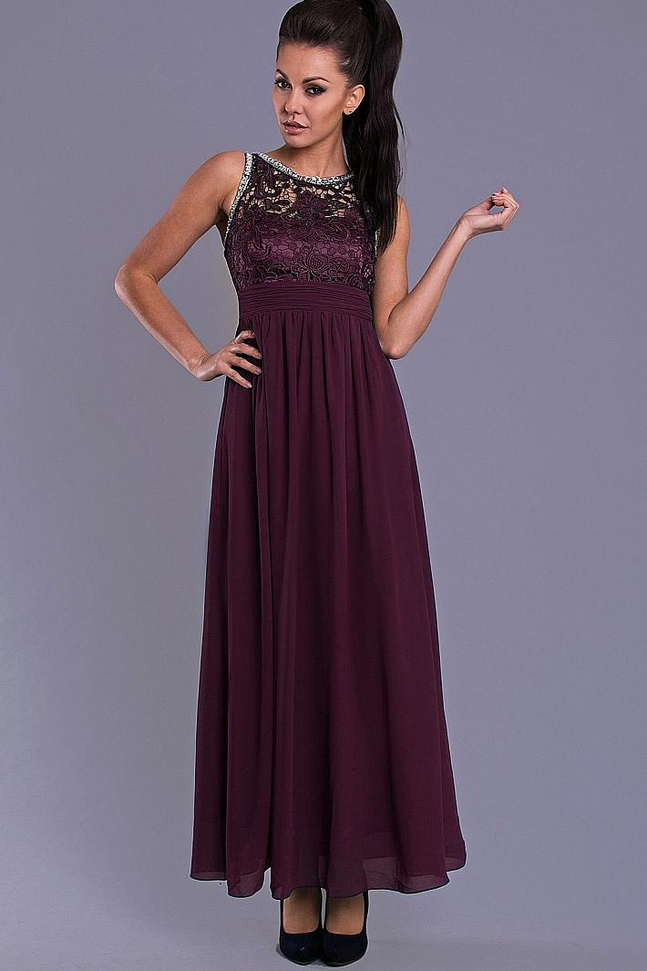 Dámské společenské šaty s krajkou Eva   Lola fialová 66c88a90c94