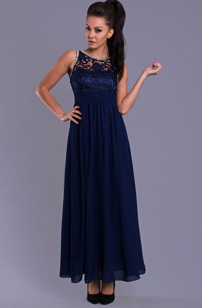 38a644df1746 Dámské společenské šaty s krajkou Eva   Lola modrá