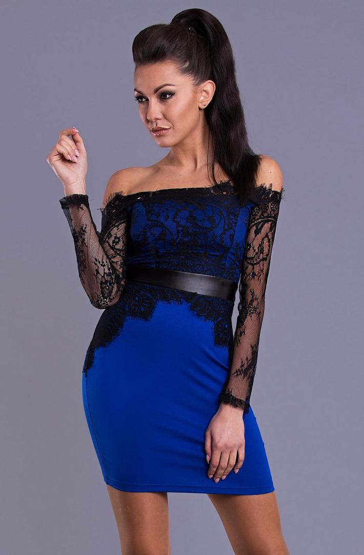 666264767e46 Dámské šaty s krajkou modrá