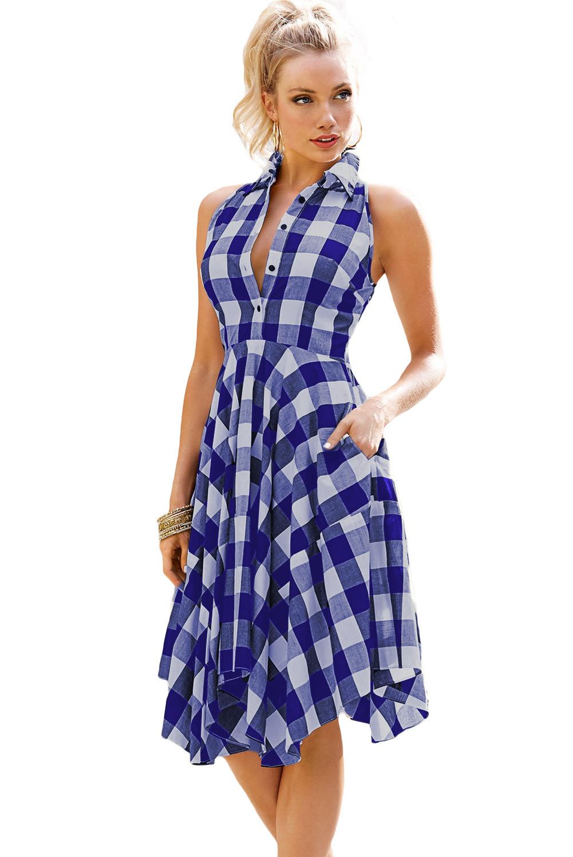 058167321205 Dámské káro šaty modrá