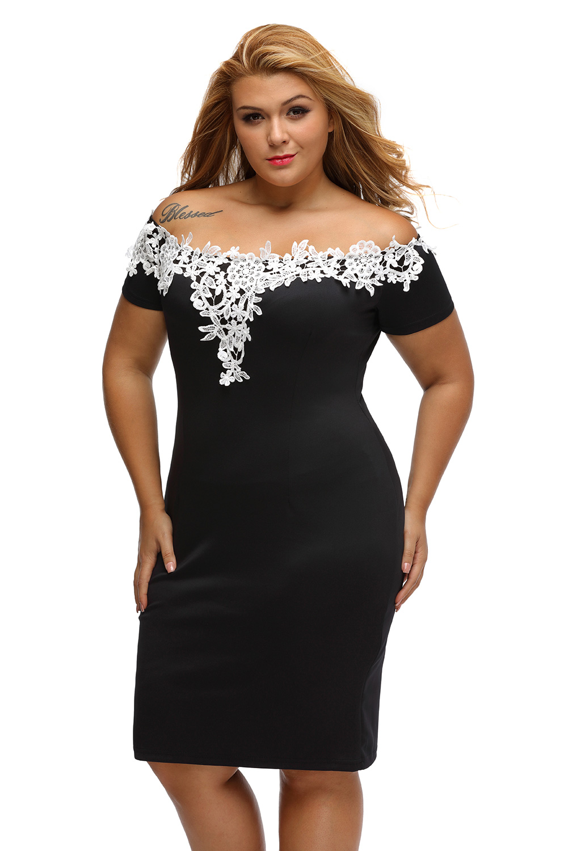 6c35581812c Dámské šaty s háčkovanou krajkou pro plnoštíhlé černá