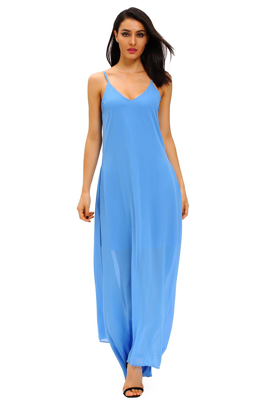 Dámské plážové šaty dlouhé modrá (Dámské šaty)