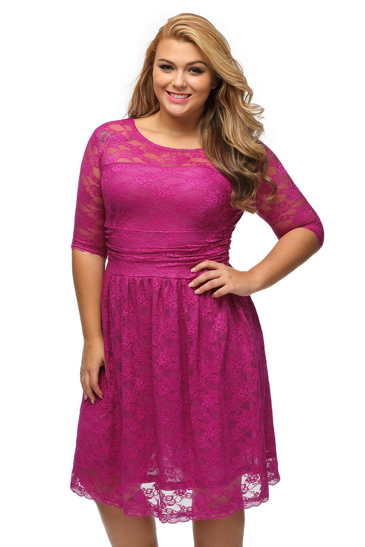 Společenské krajkové šaty pro plnoštíhlé 56ed97aa05