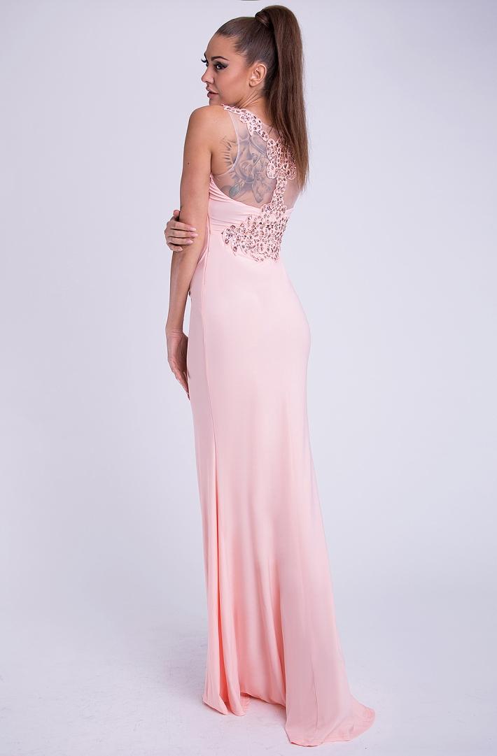 Dámské luxusní společenské šaty s korálky EVA   LOLA pudrová 92bd2cbf1d