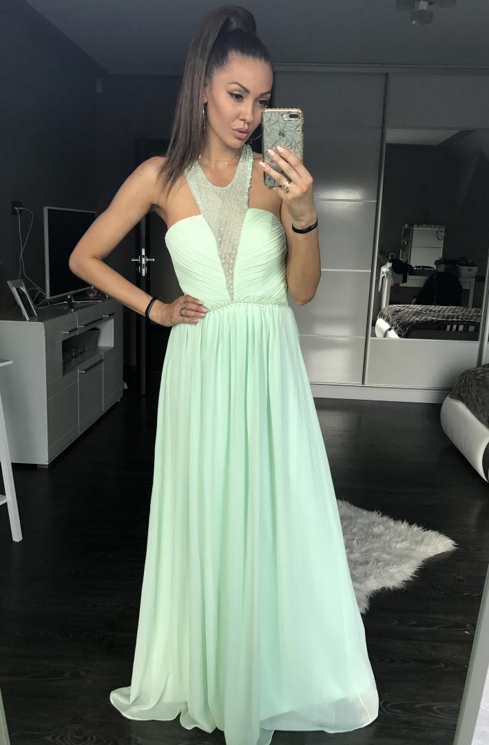 53e71f99cf69 Dámské plesové a společenské dlouhé šaty s korálky Eva   Lola zelená