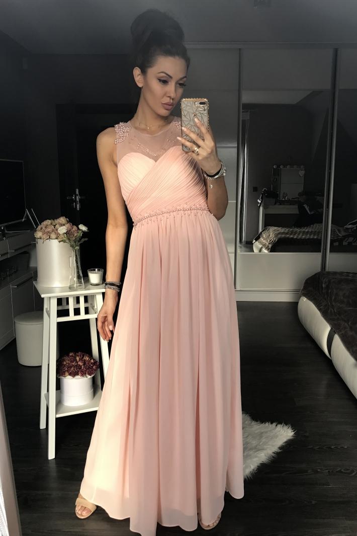 Dámské luxusní společenské šaty s korálky EVA   LOLA růžová 3d33a31b56