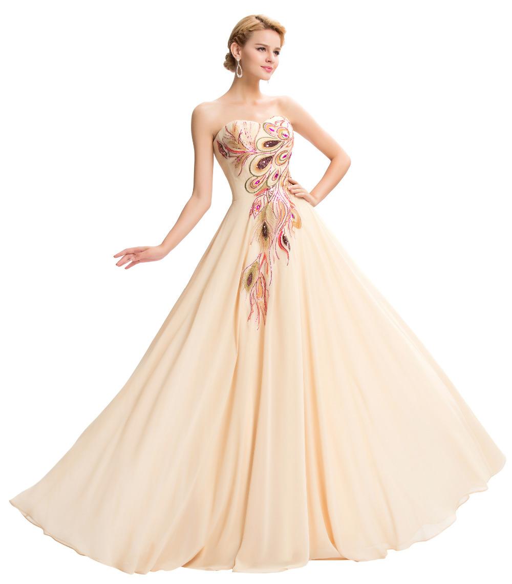 Dlouhé večerní šaty s vyšívaným pavím motivem 1c11d2aa67