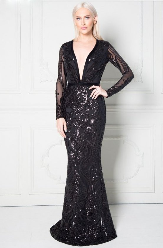 Luxusní večerní šaty Stephanie s flitry černá 57e68fdf51b