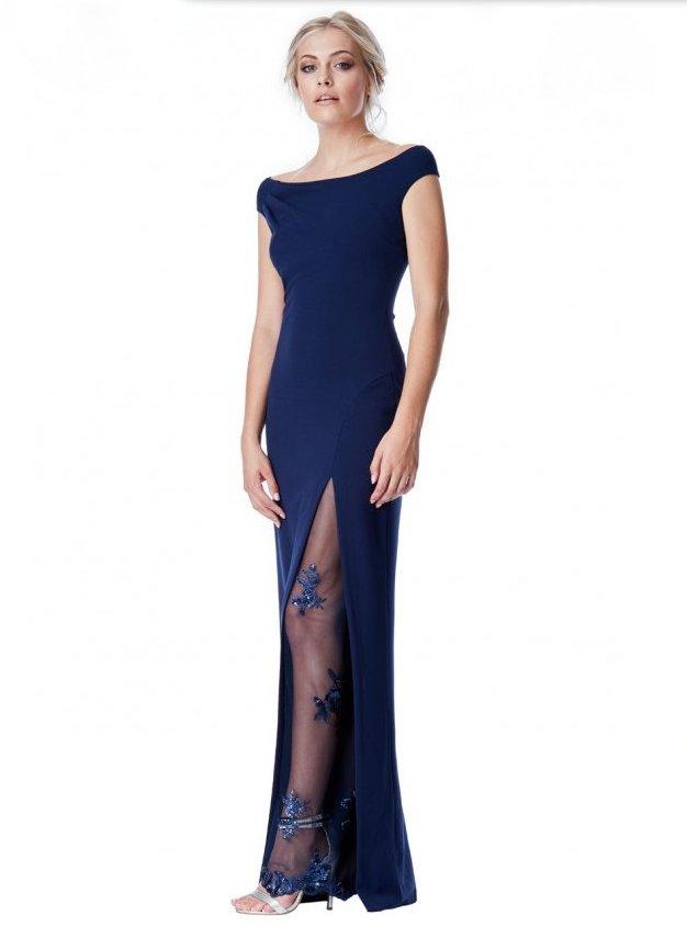 0b01c68dbae Společenské dlouhé šaty s flitry modrá