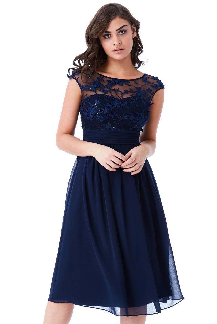 Společenské šaty krátké Zn. GODDIVA modrá 2e17a018c4