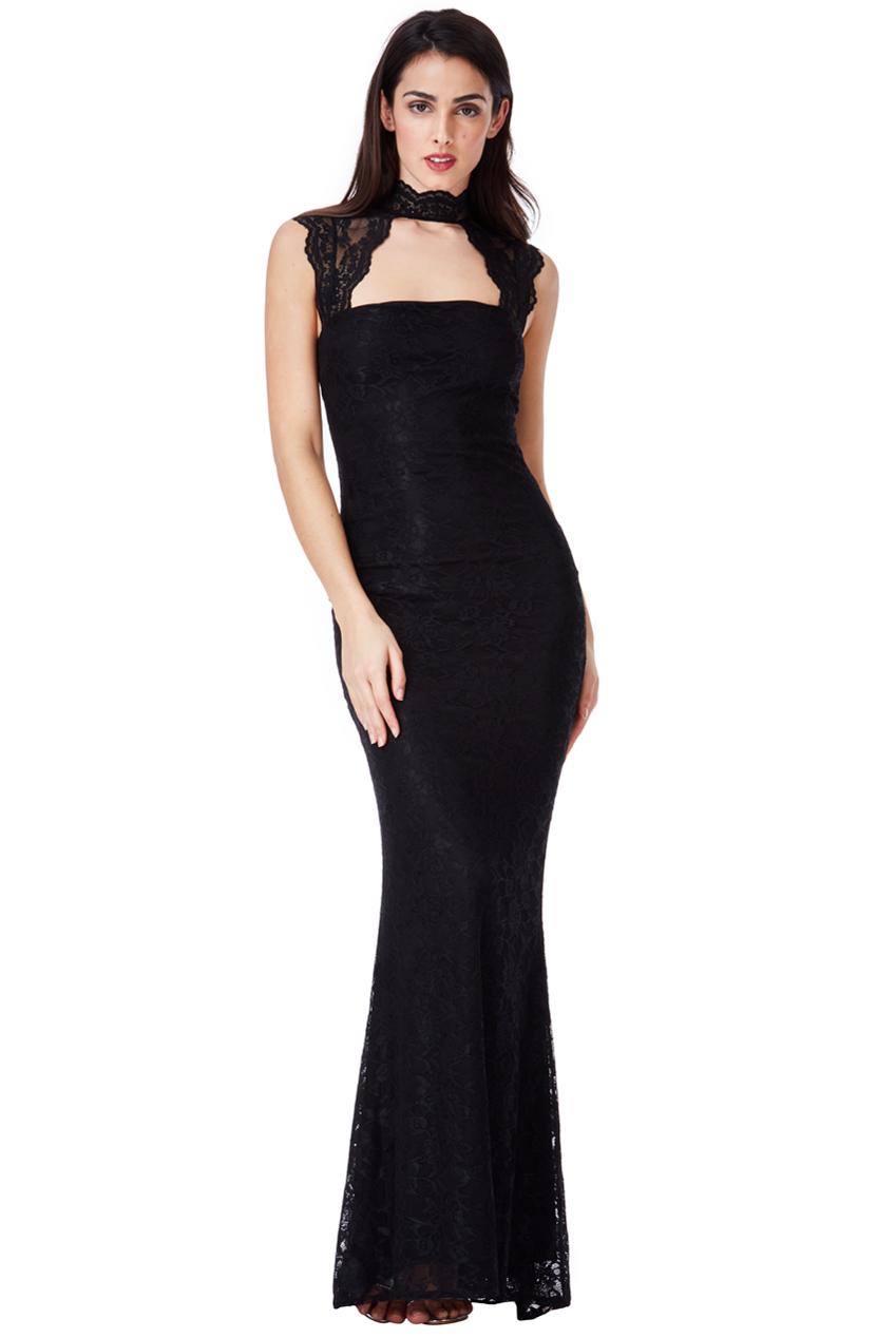 Krajkové dlouhé šaty Zn. GODDIVA černá 1d57f655cd