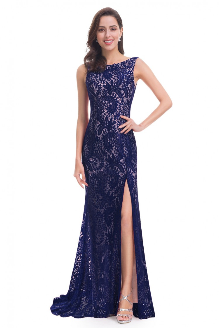 Večerní šaty s rozparkem modrá 4fdc330814