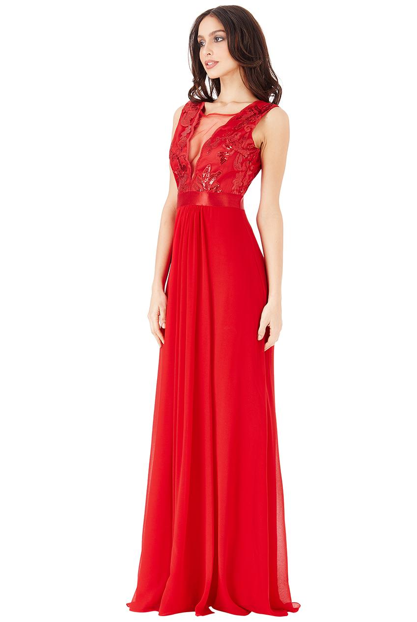 Plesové a společenské šaty s flitry Zn. GODDIVA červená 0ae2e0d36d
