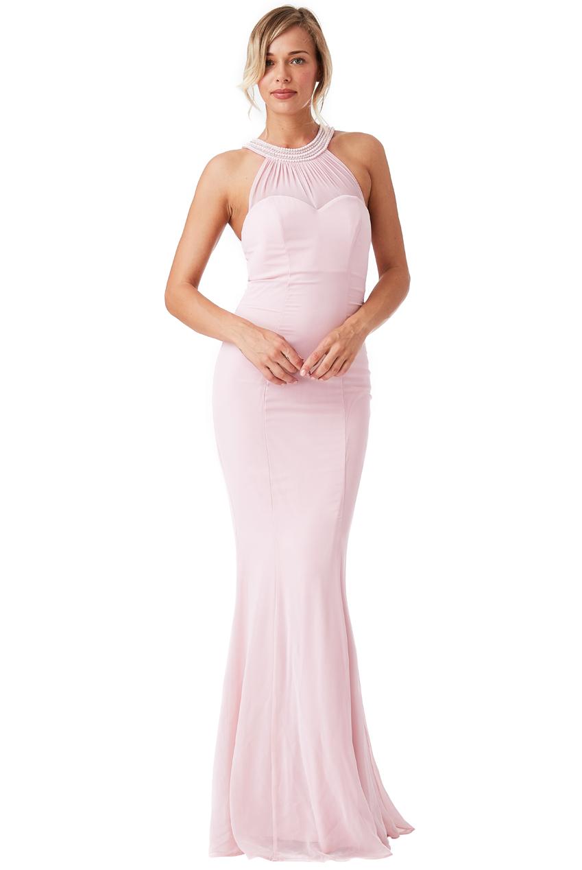 ffccd3a21f7 Společenské dlouhé šaty s korálky růžová