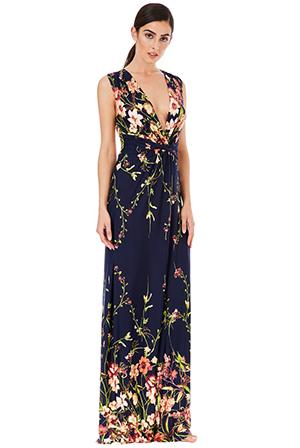 75b6ce93501 Dlouhé letní šaty s potiskem květů modré