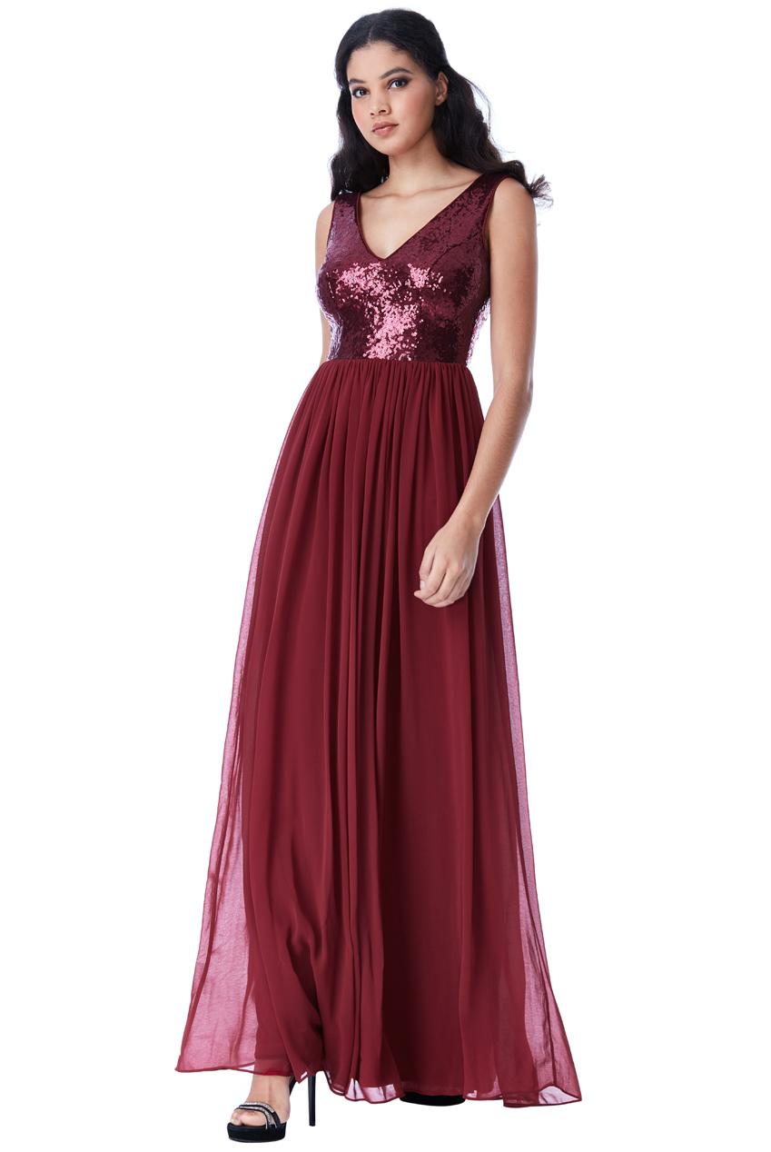 7dfe96259b95 Večerní dlouhé šaty s flitry Zn. GODDIVA vínová ...