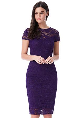 e3da53c299f Společenské krajkové šaty krátké fialová