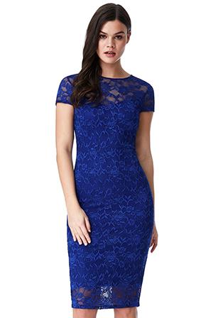 Společenské krajkové šaty krátké modrá 8740105f8fa