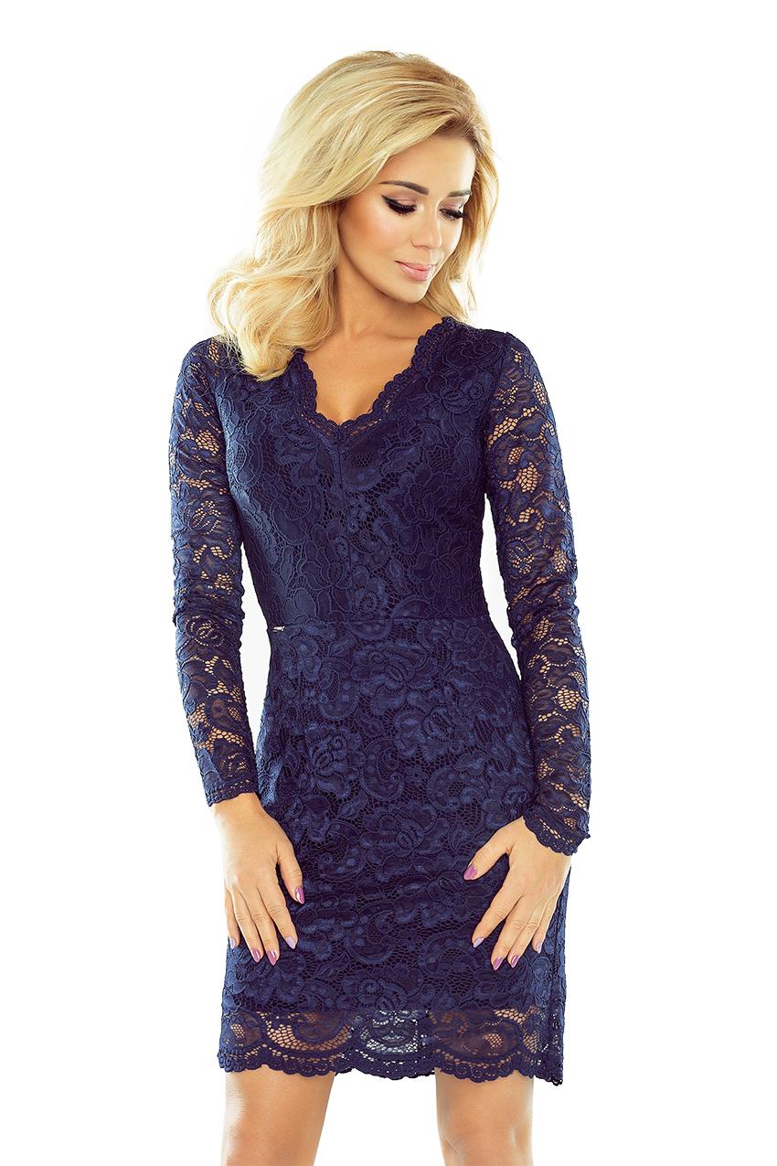 8b08f7895f7 Dámské šaty krajkové s dlouhým rukávem NUMOCO® 170-2 modrá