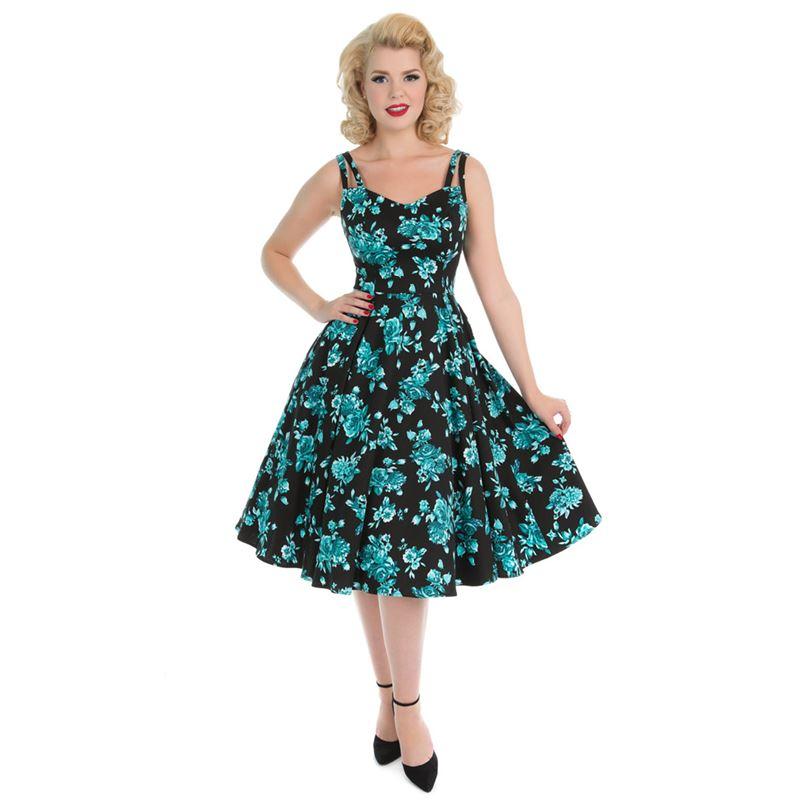 7a19cc59cd6d Hearts Roses dámské RETRO šaty s květy tyrkys
