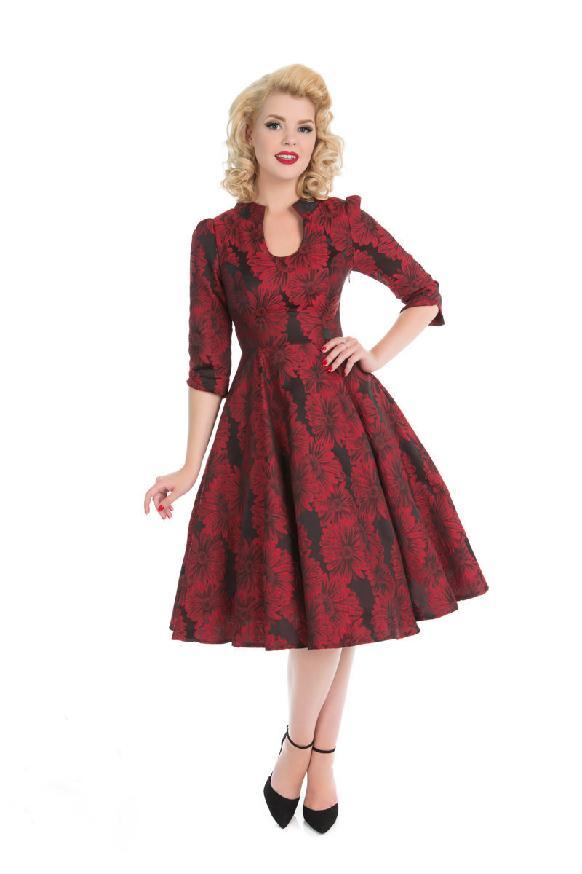 65d352c5a3dd Dámské RETRO šaty s červenými květy
