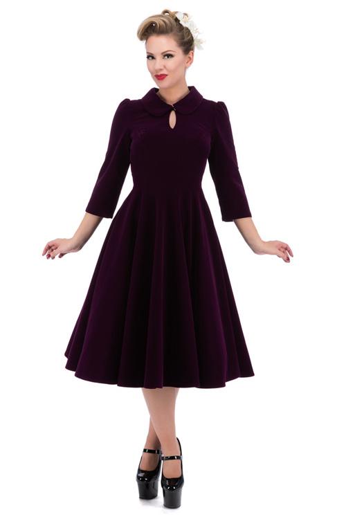 d3310b7af1e Dámské společenské RETRO šaty fialová