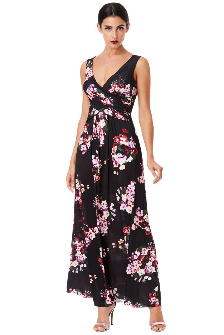 2b6c0f343cd Dlouhé letní šaty s potiskem květů černá