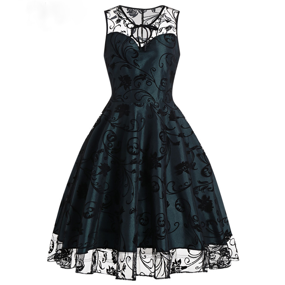 526ec1b621cd Dámské Retro šaty se sametovým potiskem